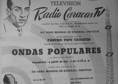 AVISO PANCHO PEPE BEISBOL POR TV DE RCTV 1953 B