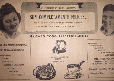 ARTEFACTOS ELÉCTRICOS, COMPAÑÍA VENEZOLANA DE ELECTRICIDAD. Diario La Esfera, 1941