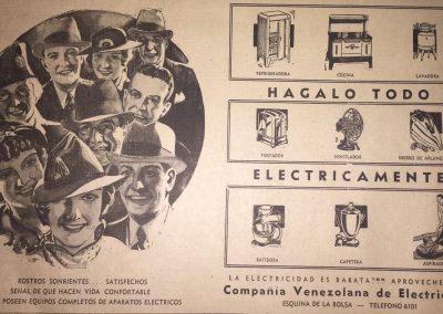 AVISO COMPAÑÍA VENEZOLANA DE ELECTRICIDAD ARTEFACTOS ELÉCTRICOS. Diario La Esfera, 1941