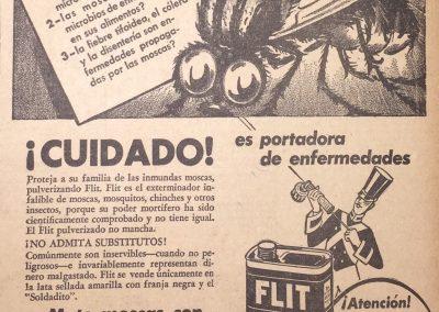 FLIT INSECTICIDA. Diario Últimas Noticias, 1941