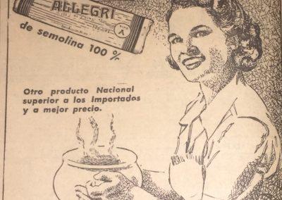 PASTAS ALLEGRI. Diario El Heraldo, 1951