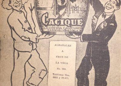 RON CACIQUE. Semanario humorístico Fantoches, 1938