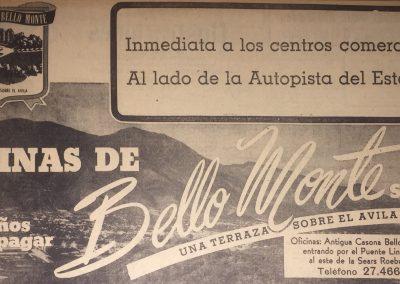 URBANIZACIÓN BELLO MONTE. Diario La Esfera, 1952